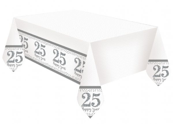Sparkling Silver Anniversary Tablecover